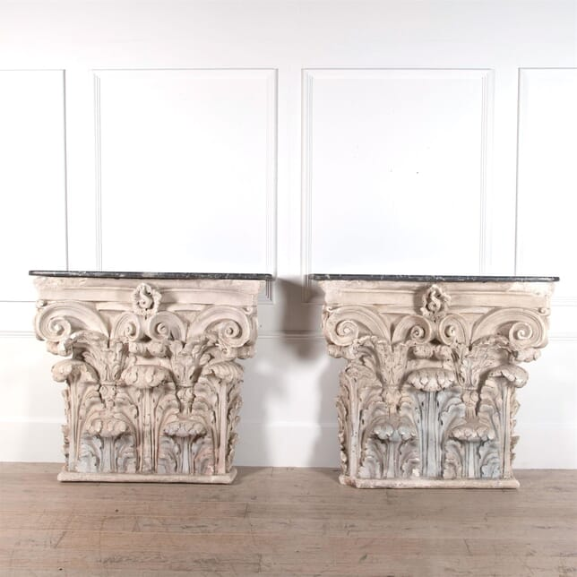 Pair Of Plaster Capitals Converted To Console Tables CO0161500