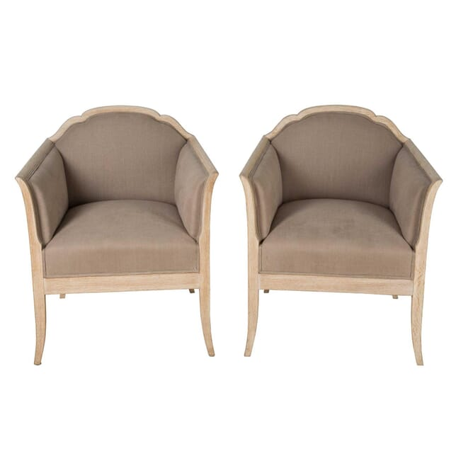 Pair of Curved Back Bleached Chairs CH7460506