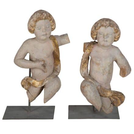 Pair of Italian Wooden Cherubs DA026232