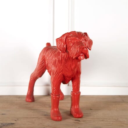 Cast Resin Sculpture of A Red Dog Wearing Wellington Boots DA287358