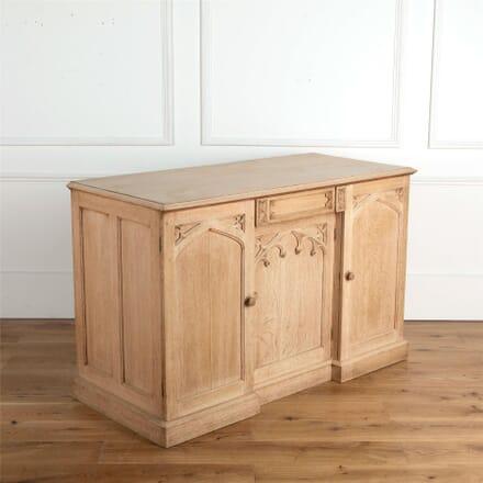 19th Century Bleached Oak Gothic Chiffonier CU2361844