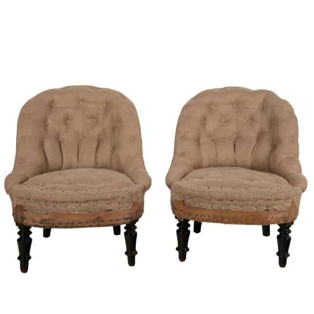 Pair of French Button Back Armchairs CH6360936