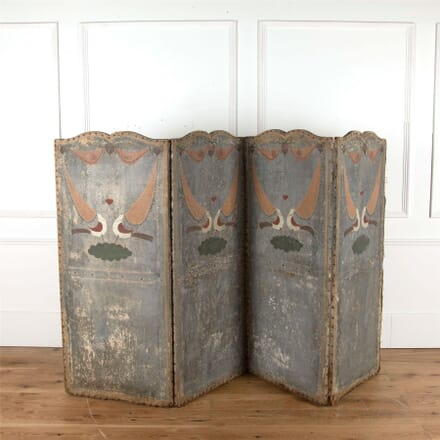 French 19th Century Painted Canvas Screen OF377478
