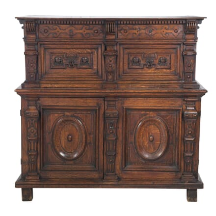 17th Century Carved Oak Enclosed Chest CC0357337