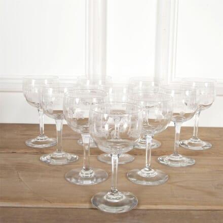 Ten 19th Century Baccarat Etched Wine Glasses DA5860931