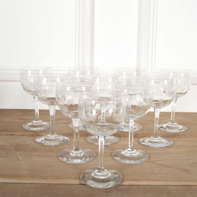 Ten 19th Century Baccarat Etched Wine Glasses DA5860931