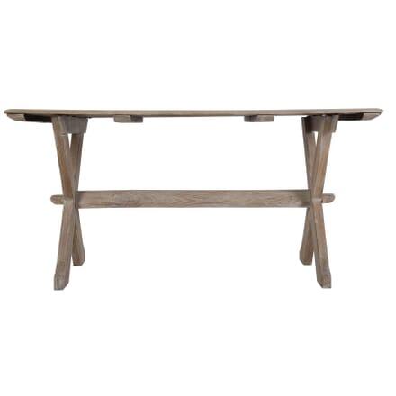 English Bleached Oak Trestle Table c 1930 TS449726