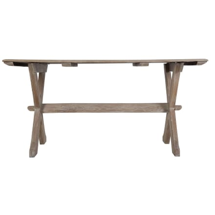 English Bleached Oak Trestle Table c 1930 TS449726