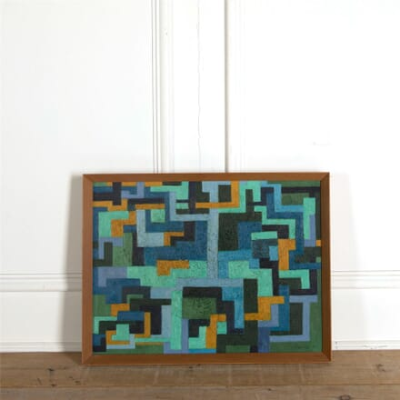 Interlocking Geometric Forms Abstract Oil Painting WD307332