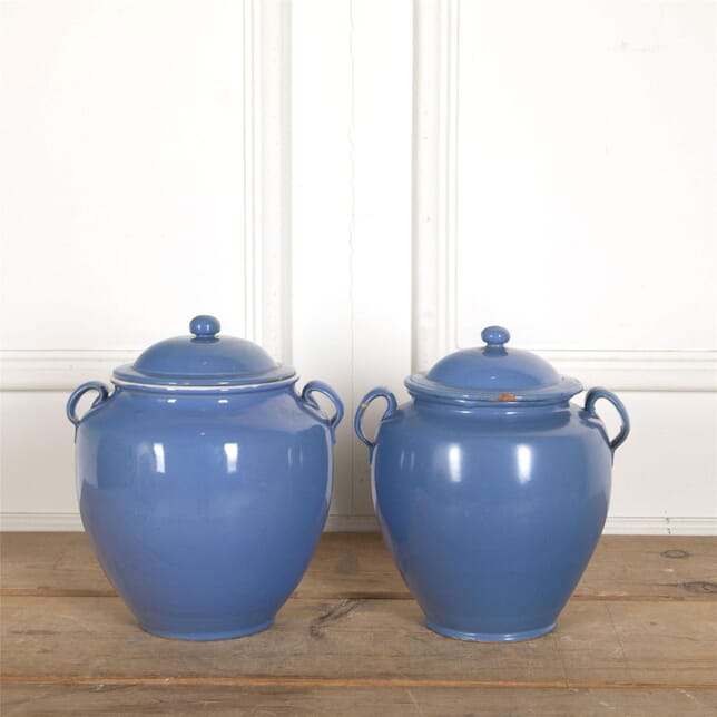 Two Blue Confit Pots with Lids DA157711