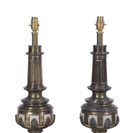 Pair of Brass and Ivory White Enamel Lamps LT7260203