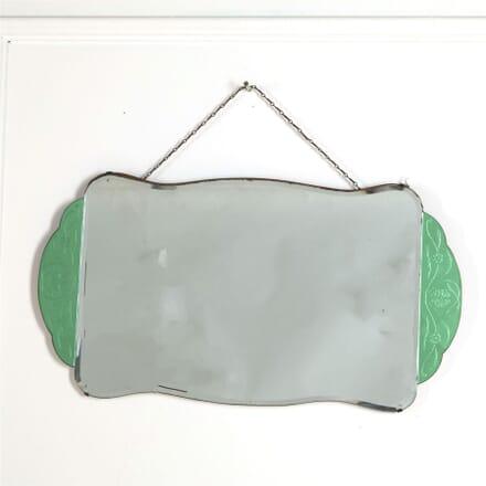 English Art Deco Dressing Table Mirror, with Decoritive Green Panels MI287379