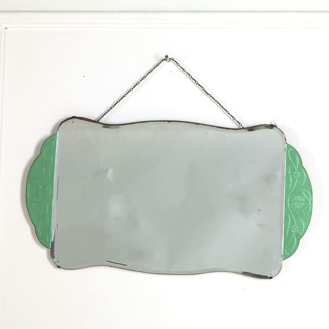 English Art Deco Dressing Table Mirror, with Decoritive Green Panels MI287379