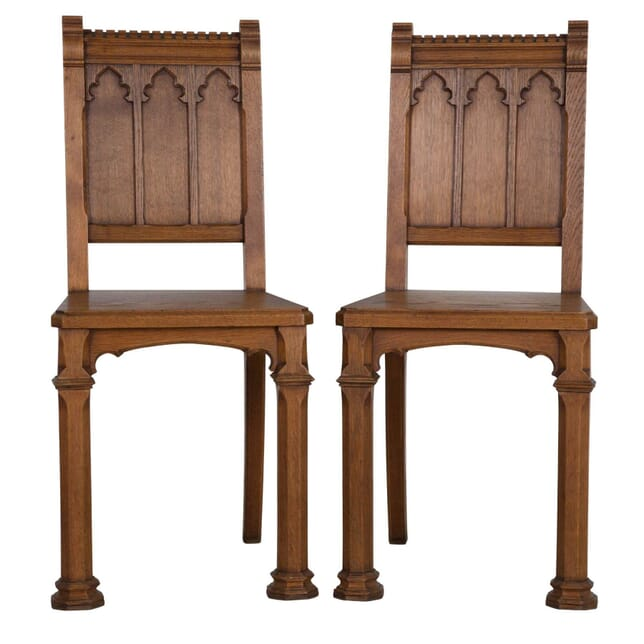 Pair of Gothic Oak Hall Chairs CH2311307