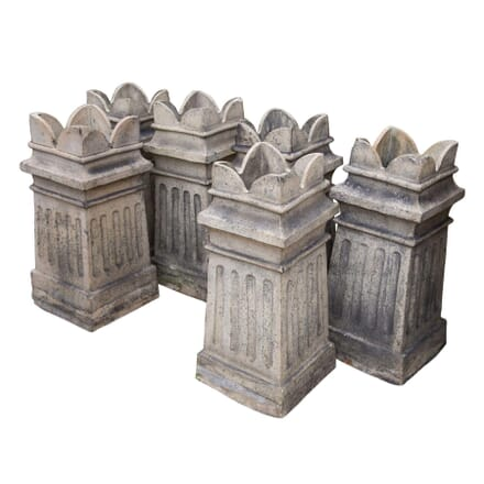 Set of Terracotta Chimney Pot Garden Planters GA4258352
