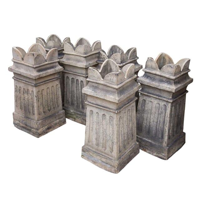 Set of Terracotta Chimney Pot Garden Planters GA4258352