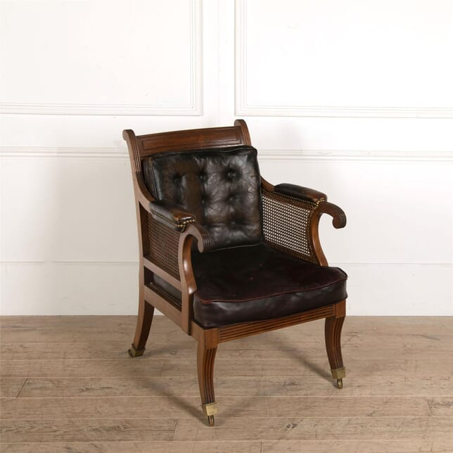 Regency Cane Bergere Chair with Leather Pads CH287363