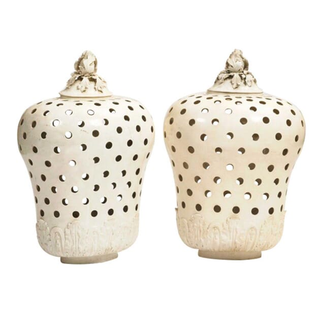 Pair of 18th Century Potpourri Jars and Covers DA165102