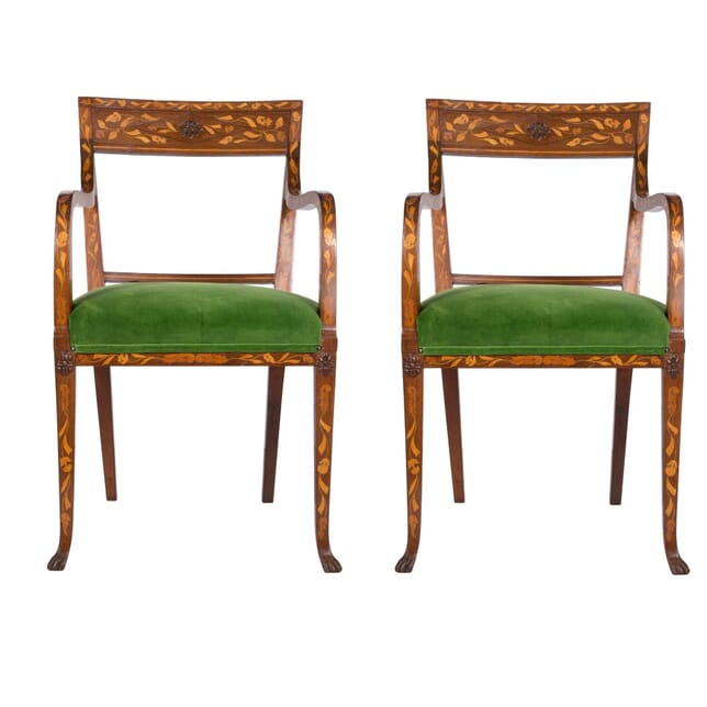 Pair of Dutch 19th Century Marquetry Chairs CH5958472