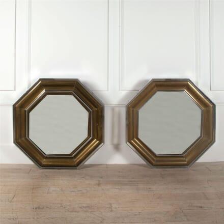 Pair of Octagonal Brass Mirrors for Mercier Freres MI1662320
