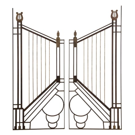 PAIR OF ART DECO WROUGHT IRON GATE WALL PANELS OF1310226