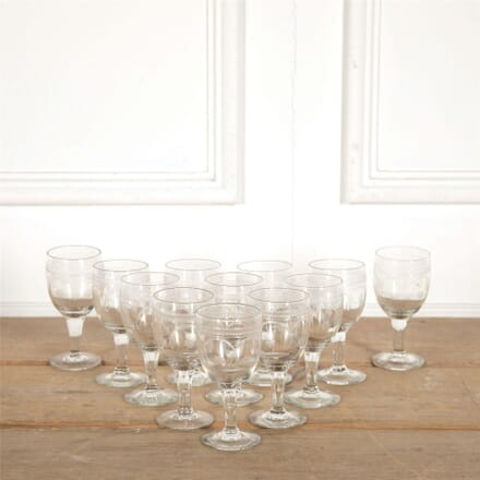 Set of 12 French Etched Wine Glasses DA157713