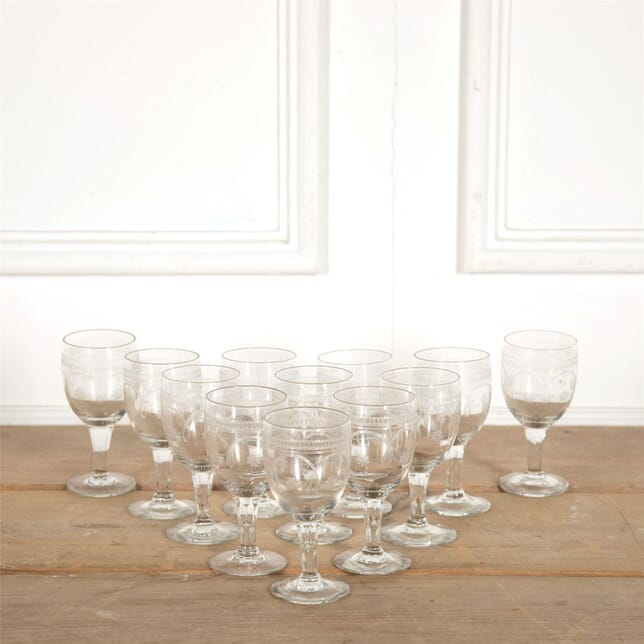 Set of Twelve Etched Wine Glasses DA157713