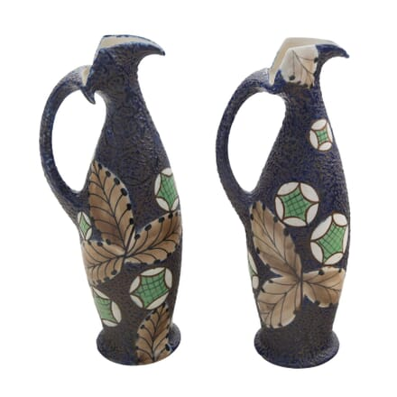 Pair of Art Nouveau Amphora Enamelled Ewer Jugs DA5856537