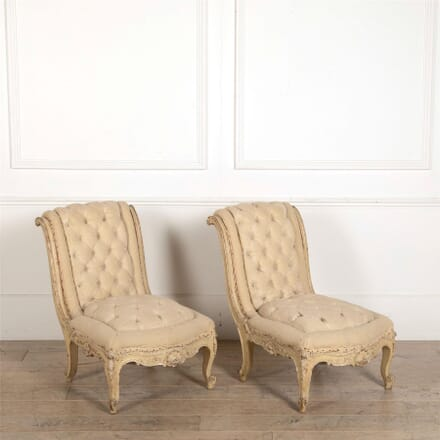 Pair of French Tufted Slipper Chairs CH157027