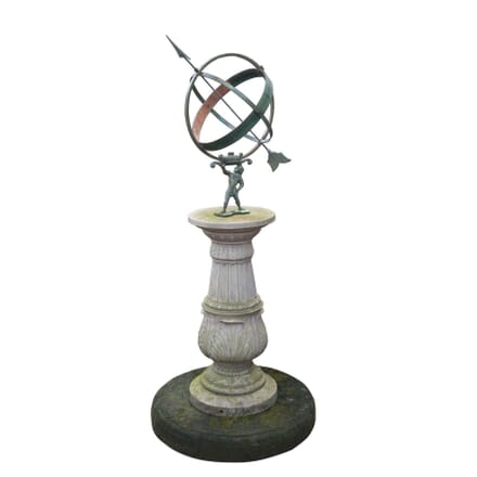 19th Century Atlas Figure Armillary Sphere Sundial GA4255373