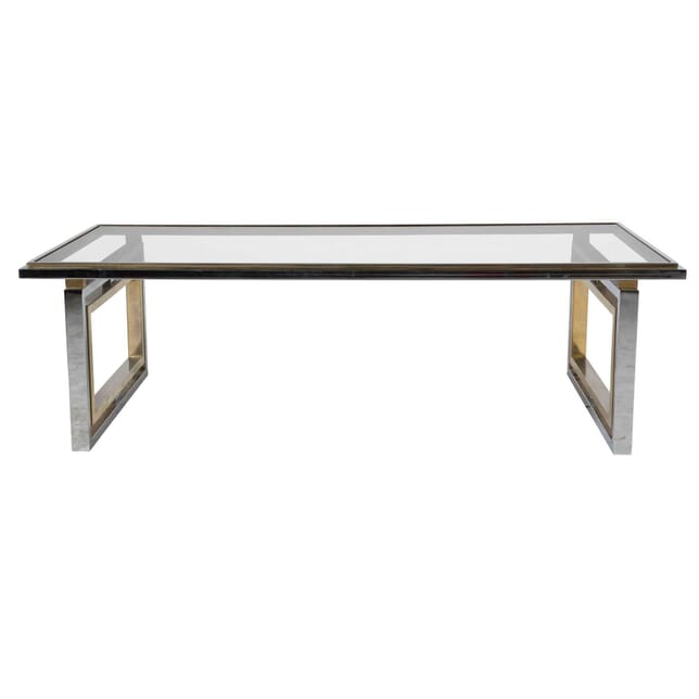 French 1960s Brass and Chrome Coffee Table CT0112366