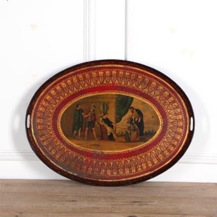 Regency Red and Parcel Gilt Decorated Oval Tole Tray DA37325
