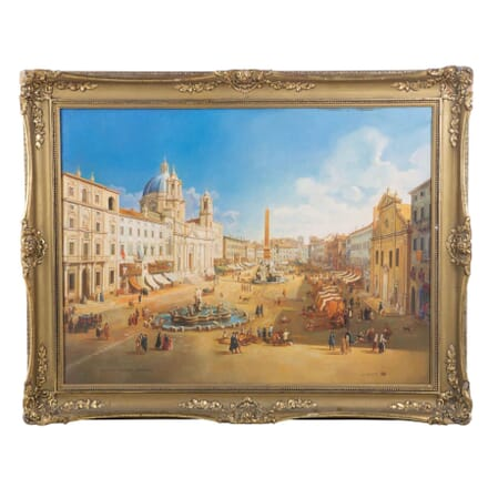 Mid 20th Century Oil Painting of Piazza Navona in Rome WD037142