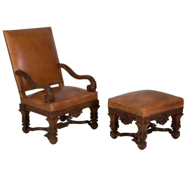 19th Century French Chair and Ottoman CH168765