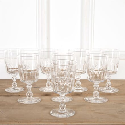 French Cut Crystal Wine Glasses With Air Bubble Stems DA5860933