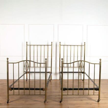 Pair of Edwardian Brass Beds BD107244