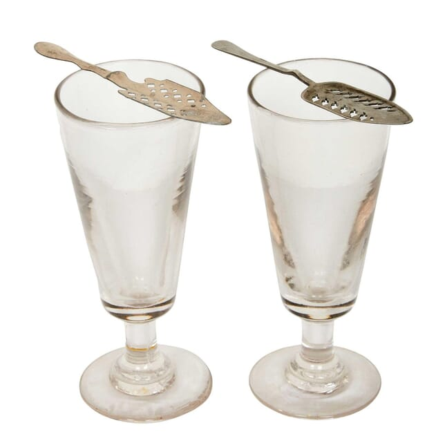 Pair of French Absinthe Glasses and Spoons DA4413112