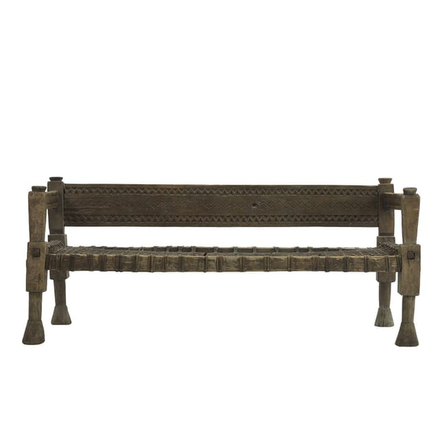 1940's Ethiopian Bench with Woven Leather Seat SB067633