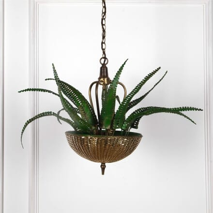 Green Painted Fern Leaves and Brass Basket Chandelier LC2162115