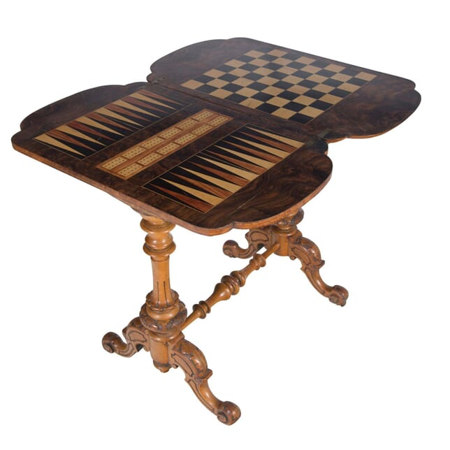 Victorian Inlaid Walnut Trictrac Games Table TS5856518