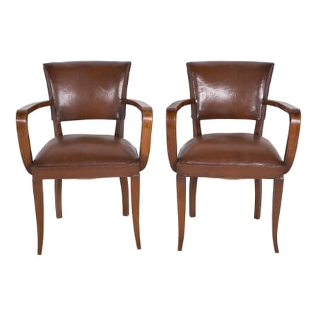 Pair of French Leather Bridge Chairs CH4559706