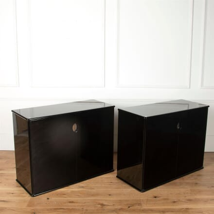 Pair of Willy Rizzo Style Black Cabinets CU7361579