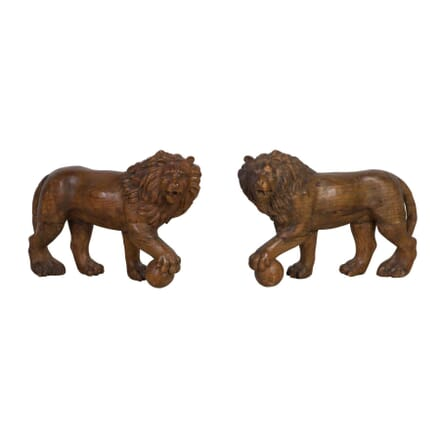 19th Century Carved Pair Medici Lions DA0311831