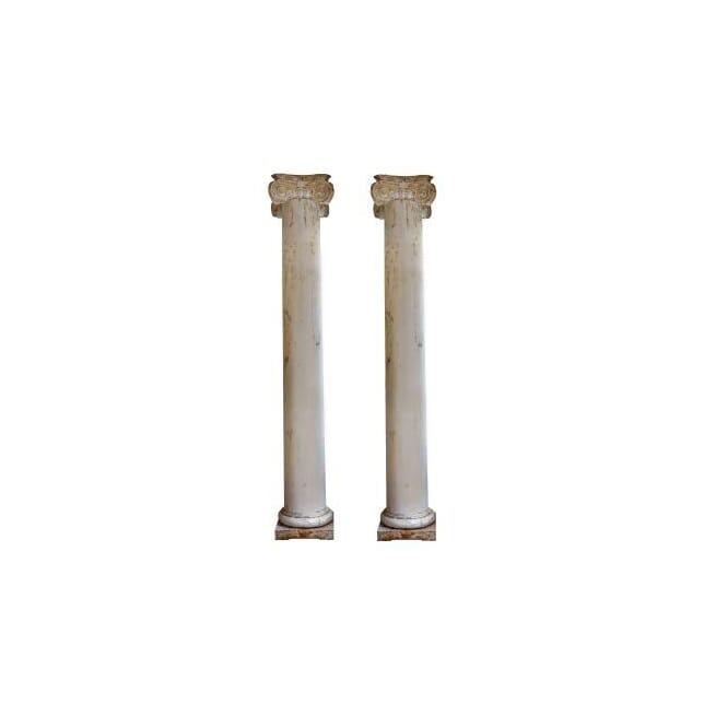 19th Century Painted Wooden Columns OF112021