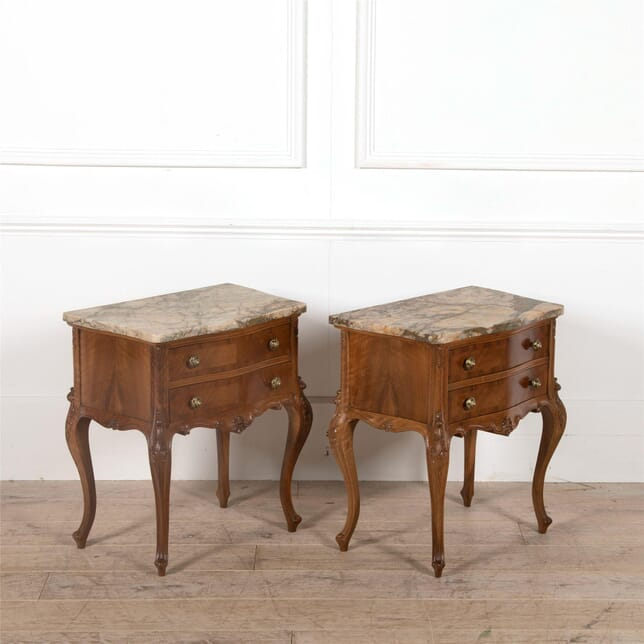 Pair of Marble Top Walnut Nightstands OF5262307