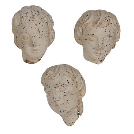 Carved Wood Cherup Heads DA026372