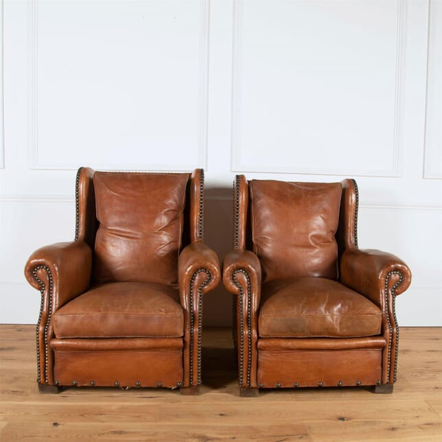 French Leather Club Chairs CH4561097