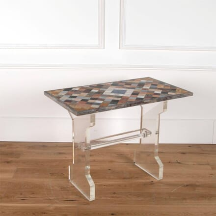 20th Century Italian Multi Marble Topped Side Table with Perspex Base TS2861453