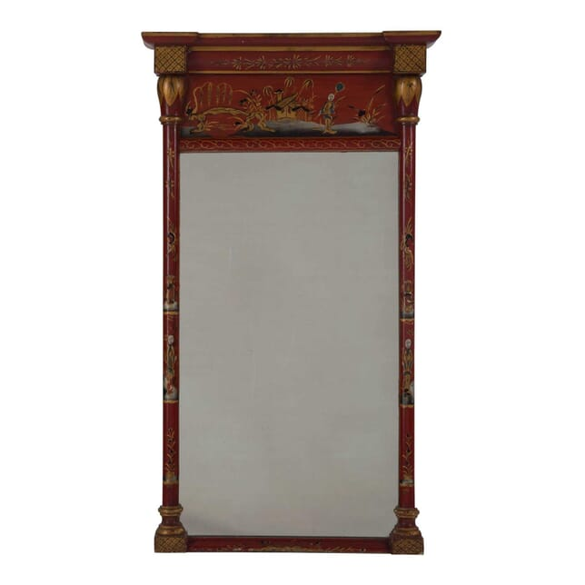 Red Lacquered Chinoiserie Mirror MI285246