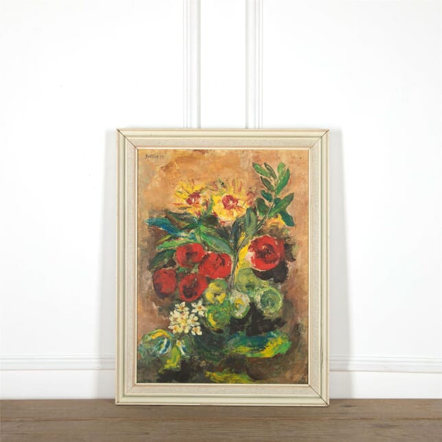 1970's Oil on Board 'Flowers' Signed WD597627